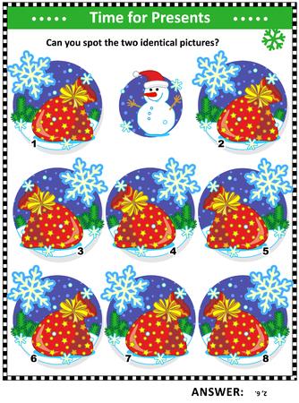 冬、クリスマスや新年をテーマにしたビジュアルパズルは、おもちゃやプレゼントの完全なサンタの袋で:あなたは2つの同一の写真を見つけることが  イラスト・ベクター素材