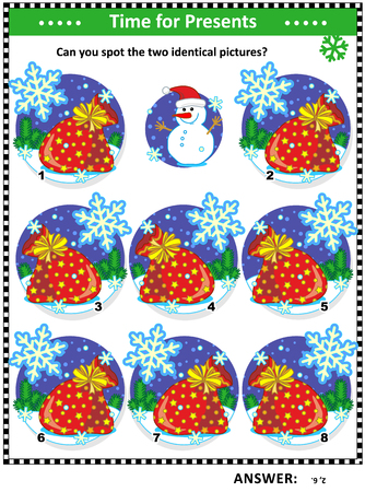 Winter, Christmas or New Year themed visual puzzle with Santas sacks full of toys and presents: Can you spot the two identical pictures? Answer included.