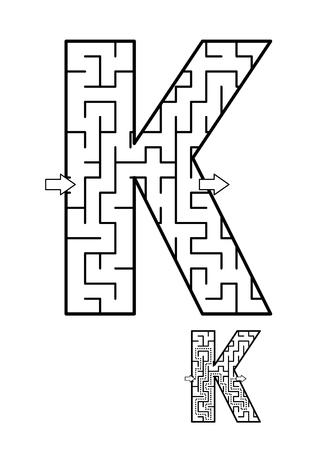 알파벳 학습 재미와 아이들을위한 교육 활동 - 편지 K 미로 게임. 답변 포함.