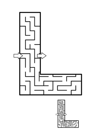 Alphabet  learning fun and educational activity for kids - letter L maze game. Answer included. Illustration
