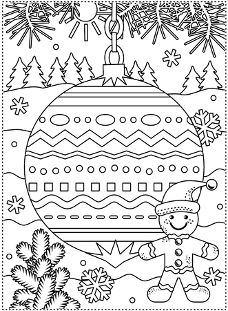 Winter holidays coloring page for kids and grown-ups with decorated ornament,  ginger man, fir tree branches, snowbanks and snowflakes Ilustração