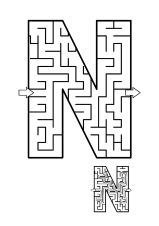 Alphabet  learning fun and educational activity for kids - letter N maze game. Answer included. Illustration