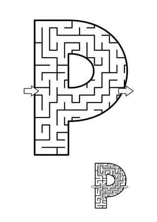 알파벳 학습 재미와 아이들을위한 교육 활동 - 편지 P 미로 게임. 답변 포함.