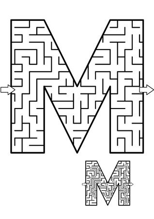 Alphabet  learning fun and educational activity for kids - letter M maze game. Answer included.