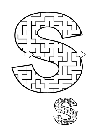 Alphabet  learning fun and educational activity for kids - letter S maze game. Answer included.