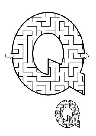알파벳 학습 재미와 아이들을위한 교육 활동 - 편지 Q 미로 게임. 답변 포함. 일러스트