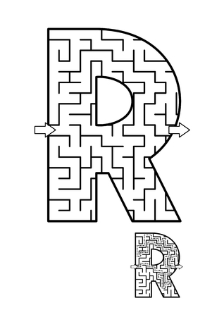 알파벳 학습 재미와 아이들을위한 교육 활동 - 편지 R 미로 게임. 답변 포함. 스톡 콘텐츠 - 93464956