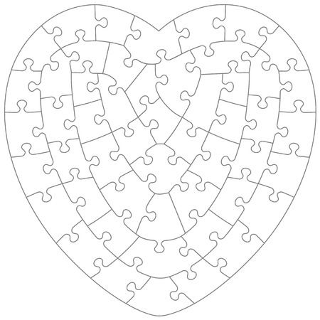 Heart-shaped jigsaw puzzle blank template with irregular hand-cut style transparent (for vector mode) pieces, suitable for Valentines Day, wedding and romantic designs and projects Illustration