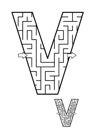 알파벳 학습 재미와 아이들을위한 교육 활동 - 문자 V 미로 게임. 답변 포함. 스톡 콘텐츠 - 93708761
