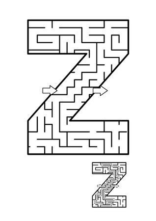 알파벳 학습 재미와 아이들을위한 교육 활동 - 편지 Z 미로 게임. 답변 포함.