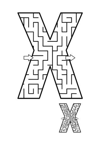알파벳 학습 재미와 아이들을위한 교육 활동 - 문자 X 미로 게임. 답변 포함.