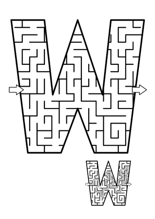 Alphabet learning fun and educational activity for kids - letter W maze game. Answer included. Vector illustration.