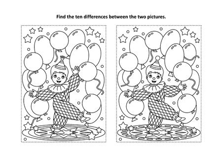 Circus themed find the ten differences picture puzzle and coloring page with little cute clown performing with balloons Vectores