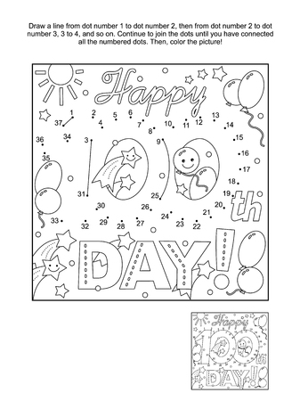 100th day of school learning celebration themed connect the dots picture puzzle and coloring page.