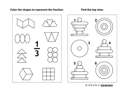 Two visual math puzzles and coloring pages. Color the shapes to represent the fraction. Find the top view. 일러스트