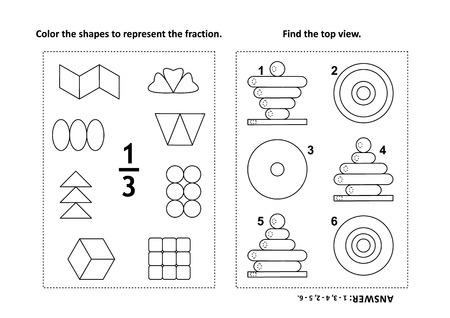Dos rompecabezas matemáticos visuales y páginas para colorear. Colorea las formas para representar la fracción. Encuentra la vista superior. Ilustración de vector