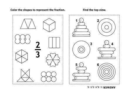 Dos rompecabezas matemáticos visuales y páginas para colorear. Colorea las formas para representar la fracción. Encuentra la vista superior.