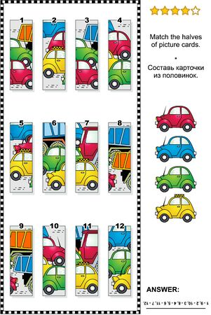 Transportation themed visual puzzle with cars and trucks on the road: Match the halves of picture cards. Answer included.