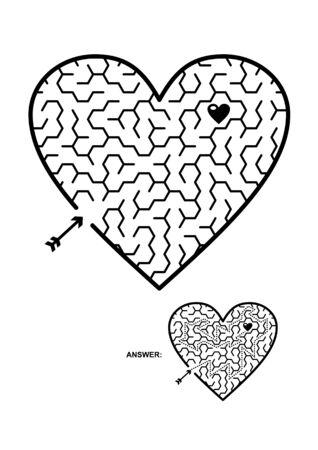 발렌타인, 결혼식, 로맨틱, 등, 테마 심장 모양의 육각형 미로 또는 미로 게임. 어린이와 어른 모두에게 적합합니다. 답변 포함.