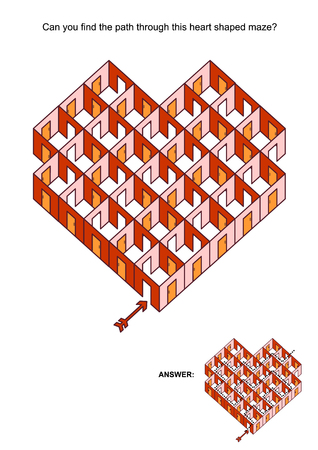 Abstract Valentine's Day, wedding, romantic, etc., themed heart shaped rooms and doors maze or labyrinth. Suitable both for kids and adults with Answer included.