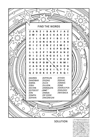 Puzzle and coloring activity page for grown-ups with z-words word search puzzle (English) and wide decorative frame to color. Family friendly answer included.