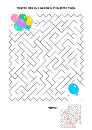 IQ training maze game for kids or grown-ups: Help alone blue balloon fly through the labyrinth and join the friends. Answer included. Illustration