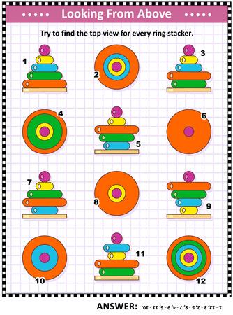 Puzzle visuel mathématique ou énigme avec des jouets colorés empilables: Trouvez la vue de dessus pour chaque tour de jouets d'anneaux en bois. Réponse incluse.