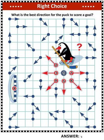 Ice hockey themed visual puzzle with penguin the hockey player: What is the best direction for the puck to score a goal Answer included. Vector illustration.