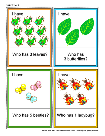 Educational math game - I Have Who Has - for group of young learners (classroom, kids party). Sheet 2 of 9. Learn, reinforce, subitize counting from 1 to 9. Spring or summer themed. Ilustração