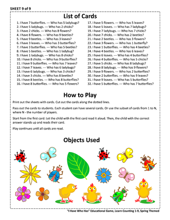 Educational math game - I Have Who Has - for group of young learners (classroom, kids party). Sheet 9 of 9. Learn counting from 1 to 9. Spring or summer themed.