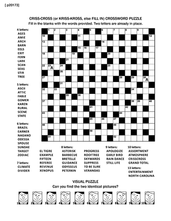 Puzzle page with two games: 19x19 fill-in (or criss-cross, else kriss-kross) crossword puzzle (English language) and visual puzzle with whimsical faces. Black and white, A4 or letter sized. Answers are on separate file.
