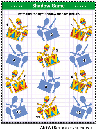IQ training visual puzzle or picture riddle with musical toy instruments: Try to find the right shadow for every picture of drum and maracas. Answer included. Vectores