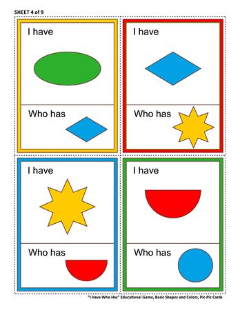 Educational math game for kids - I Have Who Has. Sheet 4 of 9. Learn or reinforce basic shapes and colors. 32 task cards totally. Picture on top of card, and picture at bottom. 스톡 콘텐츠 - 97270717