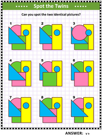 IQ training educational math puzzle for kids and adults with basic shapes - triangle, rectangle, circle, square - overlays and colors: Can you spot the two identical pictures? Answer included.