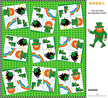 Visual logic puzzle St. Patricks Day themed: Find the two identical cards. Suitable both for children and adults. Answer included.