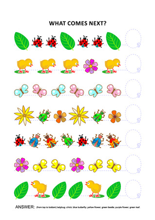 Spring or summer themed educational logic game training sequential pattern recognition skills with chicks, insects, flowers, green leaves: What comes next in the sequence? Answer included. Illustration