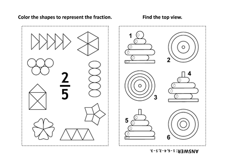 Two visual math puzzles and coloring pages. Color the shapes to represent the fraction. Find the top view. Black and white. Answers included.