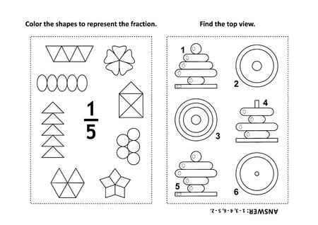 Dos acertijos matemáticos visuales y páginas para colorear. Colorea las formas para representar la fracción. Encuentra la vista superior. En blanco y negro. Respuestas incluidas.