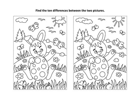 Easter holiday themed find the ten differences picture puzzle and coloring page vector illustration