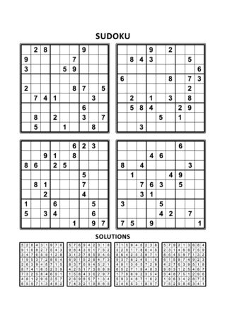 Four sudoku puzzles of comfortable (easy, yet not very easy) level, on A4 or Letter sized page with margins, suitable for large print books, answers included. Set 9.