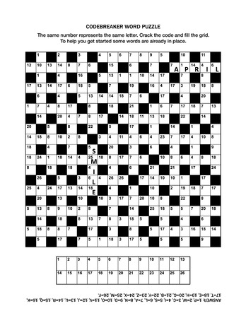 Puzzle page with codebreaker (codeword, code cracker) word game or crossword puzzle. General knowledge, some words already in place, medium level. Answer included. Vector illustration.