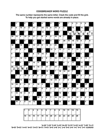 Puzzle page with codebreaker (codeword, code cracker) word game or crossword puzzle. General knowledge, some words already in place, medium level. Answer included.