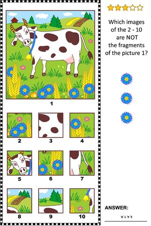 Visual logic puzzle with milk cow feeding outdoor and rural scene: What of the 2 - 10 are not the fragments of the picture 1 Answer included.