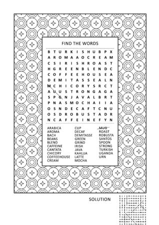 Puzzle and coloring activity page for grown-ups with coffee themed word search puzzle (English) and wide decorative frame to color. Family friendly. Answer included.