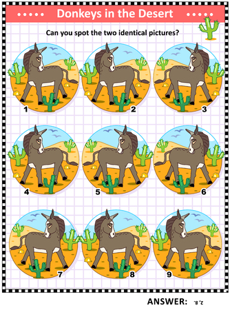 Visual logic puzzle with donkeys, or burros: Can you find the two identical pictures? Answer included.