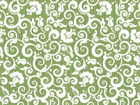 Seamless vintage white and green swirly floral pattern with abstract roses and rosebuds, woodworking alike