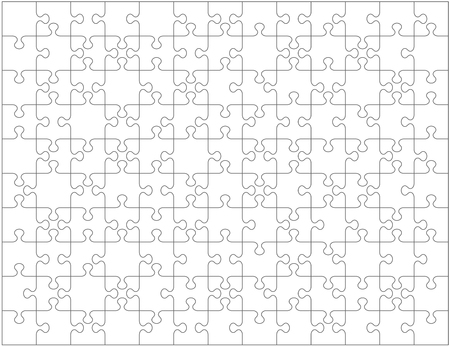 Jigsaw puzzle blank template or cutting guidelines with pieces of various shapes randomly scattered. Transparent 130 pieces are easy to separate (every piece is a single shape) for vector mode. Illustration