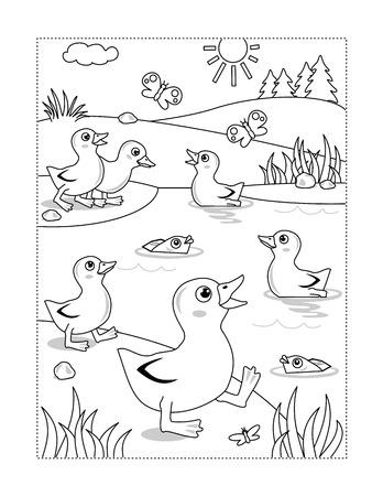 Lente of zomer vreugde thema kleurplaat met eendjes bij de vijver. Vector Illustratie