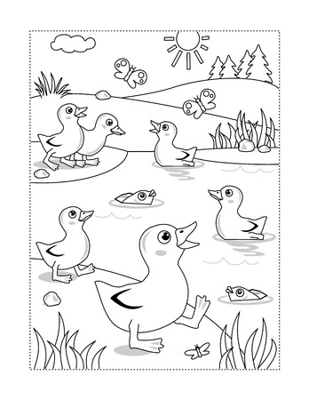 Lente of zomer vreugde thema kleurplaat met eendjes bij de vijver.