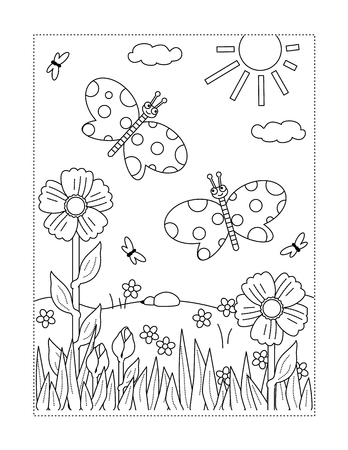 Spring or summer joy themed coloring page with butterflies, flowers, grass. Illustration